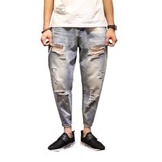 >> Click to Buy << Fashion New Arrival Men's Blue Jeans Male Ankle Length Trousers Plus Size Loose Pants N-ZK075 #Affiliate