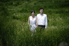 Wedding photo in Jeju Island a barley fieldd