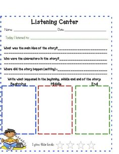 worksheets for listening centers. i like these to help make kids more accountable when they are at the listening center during daily 5 (free) Kindergarten Reading, Reading Activities, Teaching Reading, Guided Reading, Reading Time, Learning, Daily 5, School Fun, Middle School