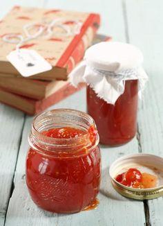 Cherry Tomato Jam, a Baby Shower Gift Jam Recipes, Canning Recipes, Jelly Recipes, Cherry Tomato Jam Recipe, Tomato Jelly, Green Papaya Salad, Homemade Jelly, Canning Tomatoes, Jam And Jelly
