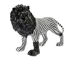Figura de poliresina León, blanco y negro - alto 58 cm