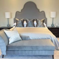 The master bedroom at one of our latest projects, love this headboard design and the cushions on the bed. Bespoke as always ✔️