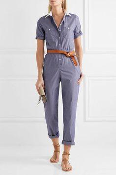 Vanessa Seward - Downtown Pinstriped Cotton-poplin Jumpsuit - Navy - FR40