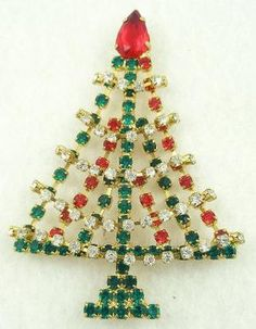 Vintage Rhinestone Christmas Tree Brooch - Garden Party Collection Vintage Jewelry