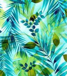 Tropical Fabric - Teal Green Leaves Watercolor Rayon