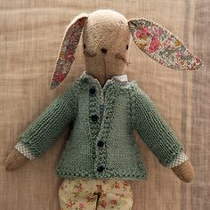 Maggie bunny with raglan knitted sweater - kits and patterns by alicia paulson...adorable!!!