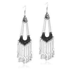 Beaded Fringe Tassel Drop Earrings Retro Silver EverMarker ($15) via Polyvore featuring jewelry, earrings, silver bead earrings, retro jewelry, beaded fringe earrings, silver tassel earrings and silver earrings
