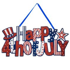 Happy 4th of July Giltter Wood Wall Decor