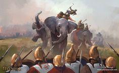 Elephant fright by Pawel Kaczmarczyk Punic Wars, North Africa, Roman Empire, Ancient History, Painting & Drawing, Mythology, Character Art, Fantasy, Illustration