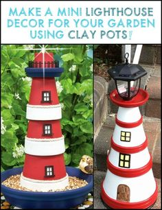 Looking For a Simple Project to Decorate Your Yard? Make This Lighthouse From Clay Pots!