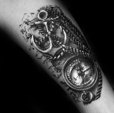Cool Realistic Anchor With Rope And Compass Guys Forearm Tattoo