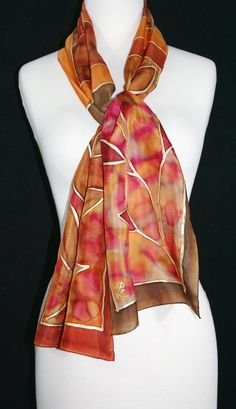 Hand Painted Silk Scarf. Brown & Terracotta by SilkScarvesColorado