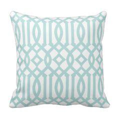 Modern White and Aqua Imperial Trellis Throw Pillows