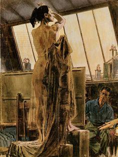 Robert Fawcett - The Artist and the Model (American, Illustration Retro Art, Vintage Art, Serpieri, American Illustration, Illustration Artists, Artists And Models, Robert Mcginnis, Gouache, Fabian Perez