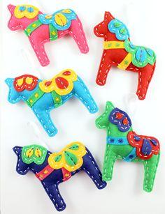 Felt Dala Horse Ornaments by lovahandmade at Etsy