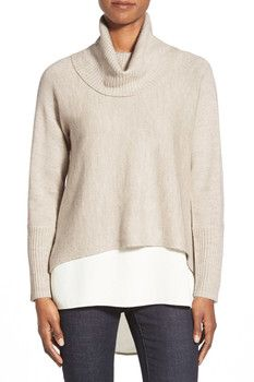 Eileen Fisher Boxy Wool Blend Turtleneck Top--- beautiful