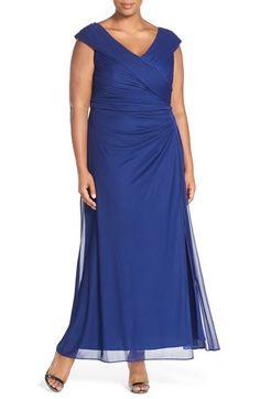 Alex Evenings Portrait Collar Pleat Gown (Plus Size)