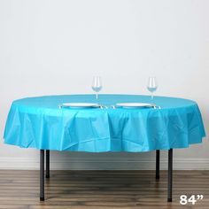 "84"" Turquoise Crushed Design PVC Plastic Disposable Waterproof Round Home Tablecloth Picnic Banquet Protector Cover 