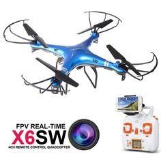 2016 NUEVA Cámara Drone X6SW Drones RC con La Cámara Real tiempo de transporte de vídeo wifi fpv quadcopter helicóptero vs syma drone X5SW