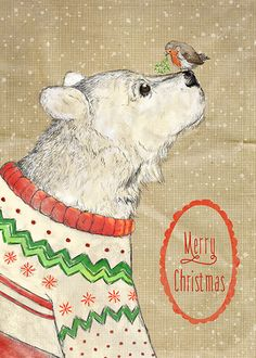 Oso petirrojo Navidad Christmas Bear by Martha Bowyer Noel Christmas, Christmas Animals, Vintage Christmas Cards, Christmas Greeting Cards, Christmas Greetings, Xmas, Hirsch Illustration, Illustration Noel, Christmas Illustration