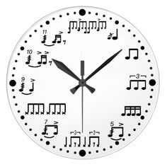 Drum Notes and Rudiments Music Clock for Drummers. You should mix up the numbers and pit digital light up arrows so only those who know the notes can tell its time. Music Clock, Drum Music, Drum Notes, Piano Design, Drums Art, Guitar Art, Music Guitar, Piano Music, Drum Room