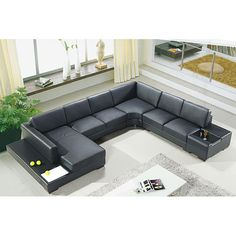 Black leather U-shaped couch.