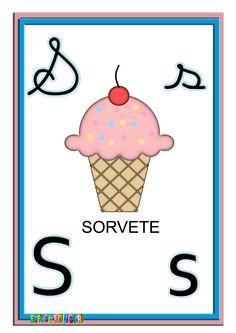 alfabeto quatro tipos de letras colorido ilustrado