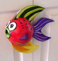 Tropical Fish Coconut Fish Hand Painted and Hand Crafted Red Palm Seed Pod