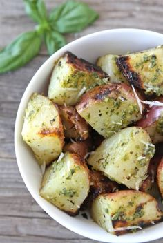 Grilled Pesto Potatoes (Two Peas and Their Pod)- we bake at 450 for 40 minutes.  Shake and kinda flip halfway.