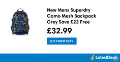 New Mens Superdry Camo Mesh Backpack Grey Save £22 Free Delivery, £32.99 at ebay