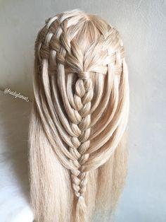 Woven waterfalls into mermaid braid