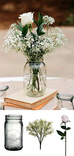 Make this simple DIY vintage rustic centerpiece with mason jars baby's breath and silk rose buds for your wedding shower or home!