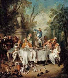 France 1735 Luncheon Party in the Park by Nicolas Lancret (French artist, 1690-1743)