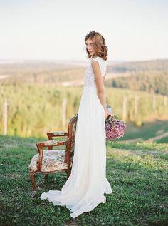 Milk shade open back wedding dress // Romantic by CathyTelle