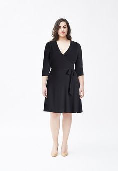 Solid Perfect Wrap Dress in Black Crepe (Full Figure)