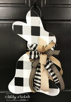 Bunny - Black Buffalo Check - Door Hanger