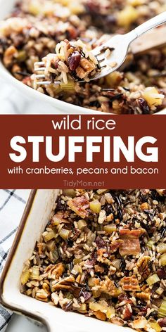 Wild rice stuffing is an easy side dish infused with incredible flavor that will complete your holiday table. Dried cranberries add a touch of sweetness to the nutty taste of this bread-less stuffing. Wild Rice Recipes, Onion Recipes, Traditional Thanksgiving Recipes, Holiday Recipes, Dinner Recipes, Drink Recipes, Wood Stove Cooking, Printable Recipe, Stuffing Recipes