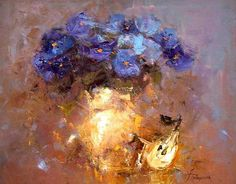 "Photo from album ""Анжелика Привалихина (Angelica Privalihin)"" on Yandex. Acrylic Flowers, Abstract Flowers, Watercolor Flowers, Abstract Art, Purple Art, Art Oil, Painting Inspiration, Flower Art, Paintings"