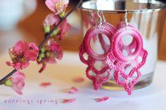 Orecchini uncinetto  earring rose
