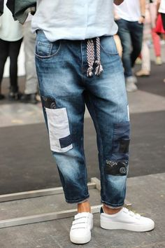Patchwork denim street style fashion 48 New Ideas Mode Masculine, Denim Fashion, Womens Fashion, Style Fashion, Outfits Hombre, Look Street Style, Mode Jeans, Patchwork Jeans, Denim Outfit