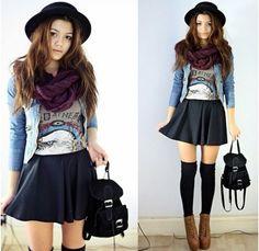 I like the skirt with the socks and heels haha