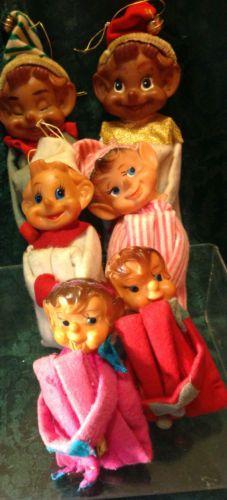 vtg 50s Christmas elves LOT knee huggers elf shelf sitters pixies dark skin pink
