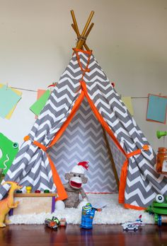 Grey and Orange Chevron Outdoor Teepee Tent by AbigailsHands on Etsy