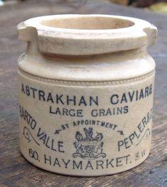 VICTORIAN STONEWARE ASTRAKHAN CAVIAR POT BARTO VALLE PEPLER 60,HAYMARKET LONDON.