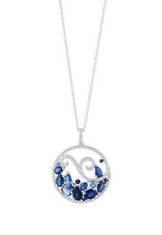 Effy Gemma 14K White Gold Blue Ceylon Sapphire & Diamond Pendant, 3.32 TCW - Necklaces & Pendants - Women