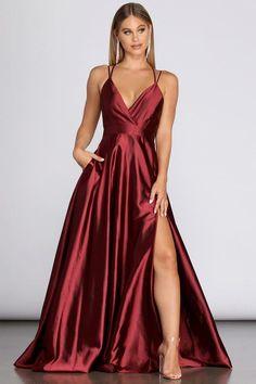 Evening Gowns For Women Formal Long Sleeve Stunning Prom Dresses, Pretty Prom Dresses, Hoco Dresses, Satin Dresses, Ball Dresses, Elegant Dresses, Red Satin Prom Dress, Cute Formal Dresses, Homecoming Dresses Long