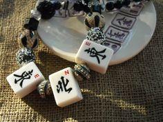 Mahjong Necklace in Black and Cream Mahjong Gift by MahjongJewelry
