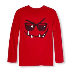 s Boys Long Sleeve Glow-In-The-Dark Monster Face Graphic Tee - Red T-Shirt - The Children's Place
