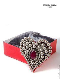 Купить Брошь Сердце в стиле D&G - серый, металлик, платиновый, сангрия, винный, красный, сердце