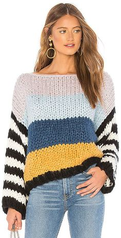 Blank NYC BLANKNYC Chunky Stripe Sweater, You can collect images you discovered organize them, add your own ideas to your collections and share with other people. Pullover Jacket, Pullover Sweaters, Fashion Trends 2018, Couture Details, Blank Nyc, Revolve Clothing, Pulls, Knitwear, Knitting Patterns